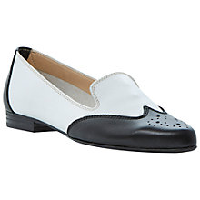 Buy Dune Leeroy Leather Brogue Loafers, Black/White Online at johnlewis.com