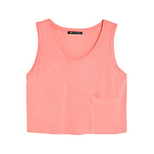 Buy Mango Dropped Pocket Cropped Top, Light Pastel Red Online at johnlewis.com