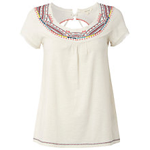 Buy White Stuff Odelle Embroidery Detail T-Shirt, Ivory Online at johnlewis.com