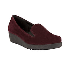 Buy John Lewis Designed for Comfort Rola Suede Loafer Shoes, Dark Red Online at johnlewis.com
