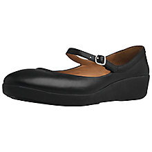 Buy FitFlop Mary Jane Leather Wedged Shoes, Black Online at johnlewis.com