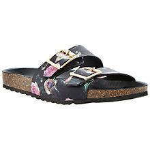 Buy Dune Jane Flat Sandals, Black Floral Online at johnlewis.com