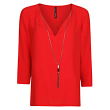Buy Mango Necklace Flowy Blouse, Bright Red Online at johnlewis.com
