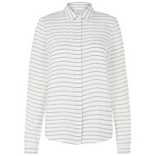 Buy Hobbs Amelie Silk Shirt, Ivory/Navy Online at johnlewis.com