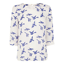Buy Oasis Bird Print Drape Sleeve Top, Multi Online at johnlewis.com