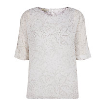 Buy Hobbs Hollie Silk Top, Ivory Grey Online at johnlewis.com