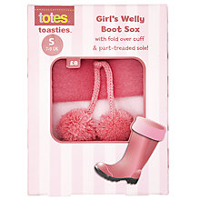 Buy Totes Welly Boot Socks, Pink Online at johnlewis.com