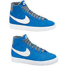 Buy Nike Childrens' Blazer Mid Vintage Trainers, Blue/White Online at johnlewis.com