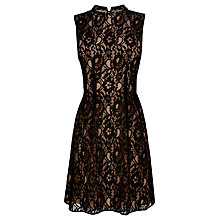 Buy Oasis High Neck Lace Dress, Black Online at johnlewis.com