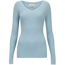 Buy Havren Ribbed V-Neck Jumper, Blue Online at johnlewis.com