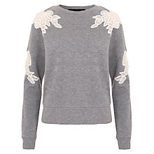 Buy French Connection Sandra Lace Jersey Sweatshirt, Grey Online at johnlewis.com