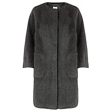 Buy Kin by John Lewis Collarless Mohair Coat, Light Grey Online at johnlewis.com