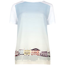Buy Ted Baker Hadria Graphic Hem Top, White Online at johnlewis.com