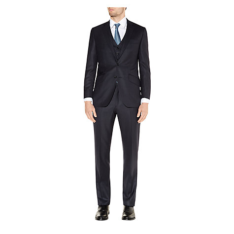 Buy Aquascutum Herringbone Twill Wool Suit Jacket, Navy Online at johnlewis.com