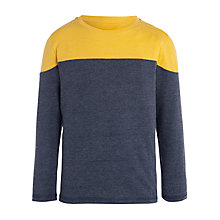 Buy John Lewis Boy Colour Block Long Sleeve T-Shirt, Charcoal/Yellow Online at johnlewis.com