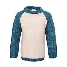 Buy Kin by John Lewis Boy's Colour Block Chunky Knit Jumper, Blue/Cream Online at johnlewis.com