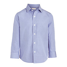 Buy John Lewis Boys' Micro Grid Long Sleeve Shirt, Blue/White Online at johnlewis.com