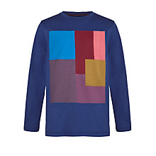 Buy Kin by John Lewis Cube Placement Long-Sleeve T-Shirt, Navy/Multi Online at johnlewis.com