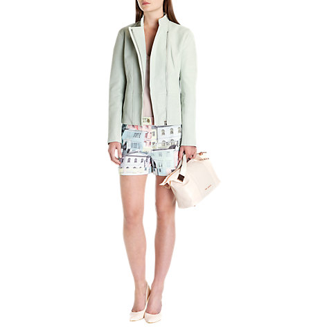 Buy Ted Baker Ballari Asymmetric Leather Jacket, Pale Green Online at johnlewis.com