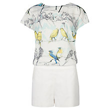 Buy Ted Baker Kloe Canary Print Playsuit, White Online at johnlewis.com