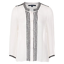 Buy French Connection Solstice Stitch Top, Winter White/black Online at johnlewis.com