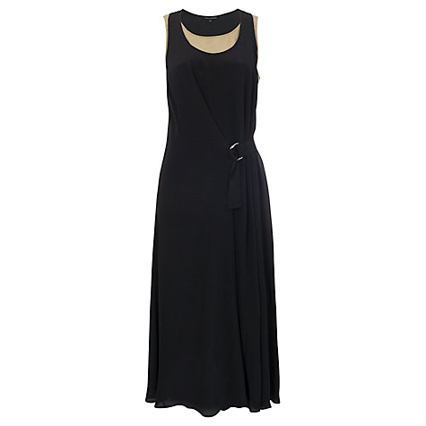 Buy French Connection Sun Kissed Silk Dress, Black/Sea Grass Online at johnlewis.com