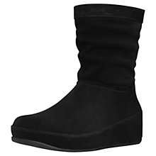 Buy FitFlop Crush Wedged Suede Calf Boots, Black Online at johnlewis.com