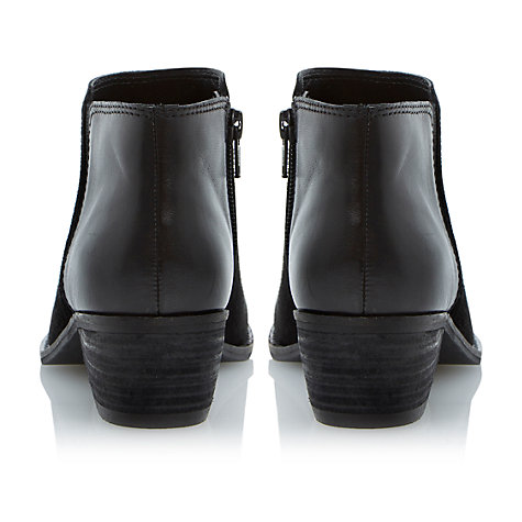 Buy Dune Penelope Leather Suede Mix Ankle Boots, Black Online at johnlewis.com
