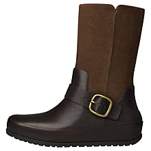 Buy FitFlop Dué Leather Biker Boots, Chocolate Online at johnlewis.com