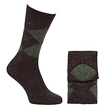 Buy John Lewis Wool & Silk Blend Argyle Socks, Pack of 2 Online at johnlewis.com