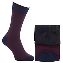 Buy John Lewis Egyptian Cotton Socks, Pack of 2, Burgundy/Navy Online at johnlewis.com