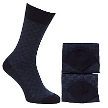Buy John Lewis Merino Wool Blend Check Socks, Pack of 2 Online at johnlewis.com