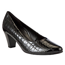 Buy Gabor Beautiful Leather Court Shoes, Black Patent Croc Online at johnlewis.com