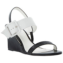 Buy Dune Hanny Large Buckle Wedge Sandals, Black Online at johnlewis.com