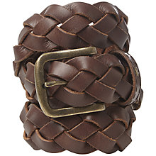 Buy White Stuff Plait Belt, Chocolate Online at johnlewis.com