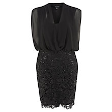 Buy Chesca Blouson Lace Trim Dress, Black Online at johnlewis.com