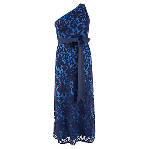 Buy Chesca One Shoulder Lace Evening Dress, Navy Online at johnlewis.com