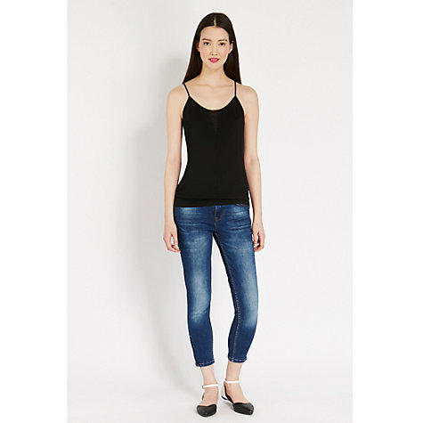 Buy Oasis Mesh Yoke Camisole, Black Online at johnlewis.com