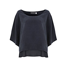 Buy Mint Velvet Cupro Layered Top, Navy Online at johnlewis.com