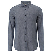 Buy JOHN LEWIS & Co. Cross Weave Semi Plain Shirt, Indigo Online at johnlewis.com