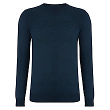 Buy Kin by John Lewis Fine Moss Yoke Crew Neck Jumper, Dark Blue Online at johnlewis.com