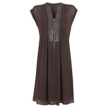 Buy Mint Velvet Sequin Placket Dress, Mocha Online at johnlewis.com