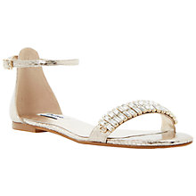 Buy Dune Kittie Two-Part Jewelled Toe Strap Sandals, Champagne Online at johnlewis.com