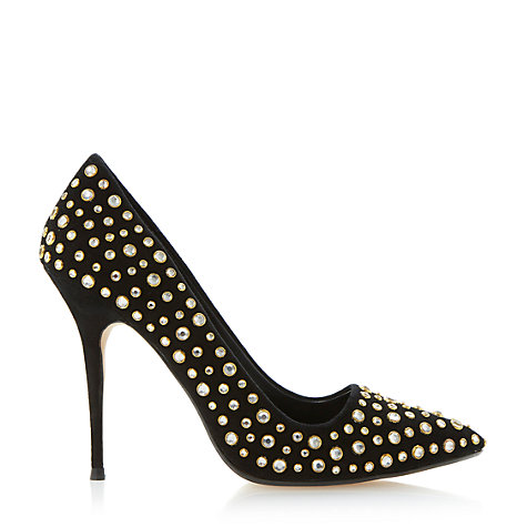 Buy Dune Bethanie Pointed High Heel Leather Court Shoes, Black Online at johnlewis.com
