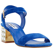 Buy Dune Harah Jewelled Block Heeled Sandals, Blue Suede Online at johnlewis.com