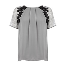 Buy Kaliko Silk Trim Lace Blouse, Silver Grey Online at johnlewis.com