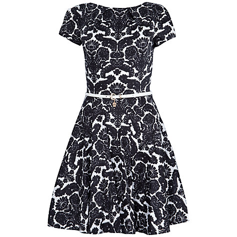 Buy Closet Short Sleeve Belted Flared Dress, Black / White Online at johnlewis.com