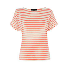 Buy Warehouse Stripe Kimono Sleeve T-shirt, Coral Online at johnlewis.com