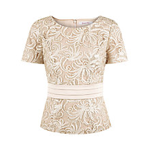 Buy Jacques Vert Ribbon Peplum Top, Gold Online at johnlewis.com