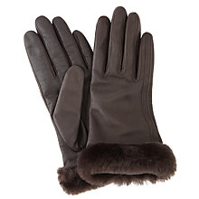 Buy UGG Leather Smart Gloves, Brown Online at johnlewis.com